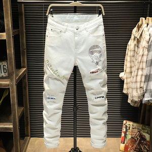 Lüks erkek kot beyaz kişilik kule model mektup baskılı kot tasarımcı streç kemer dekorasyon ince ayak pantolon