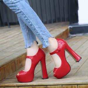 MAIERNISI Pumps Female Shoes Fish Mouth Platform Women Pump Solid High Heels 14cm Shoes Pumps Sexy Shallow Single Ladies Shoes Y200702
