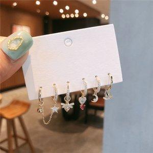 fashion Gold Bee horse star Heart Earrings Set Star Moon small Hoop Earrings For Women girls New Korean Wedding Jewelry 2020