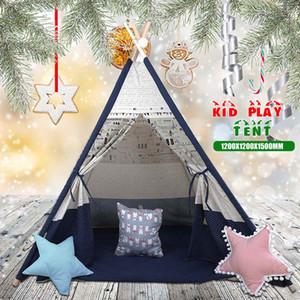 1200x1200x1600mm 대형 Teepee 텐트 어린이 캔버스 홈 척 플레이 야외 실내 어린이 크리스마스 선물