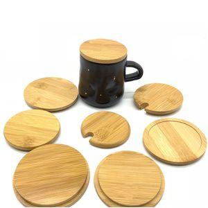 4 Tamanho da copa Criativo tampa de madeira de bambu Silicone Tampa Caneca Milk Tea Cup Lid frete grátis