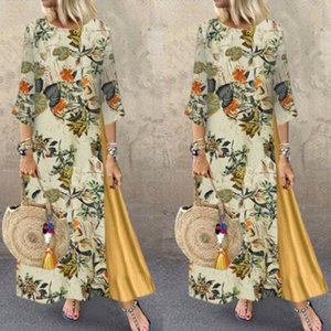 Hirigin Womens Maxi Beach Dress Summer Half Sleeve Casual Boho Kaftan Tunic Gypsy Ethnic Style Floral Print Plus Size Dresses