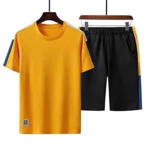 Leisure Suit Men Summer Fashion Track Suit Set Tee Shirt + Shorts Set Men's Sport Suit Jogger Sets Man Breathable Sweat Suits T200709