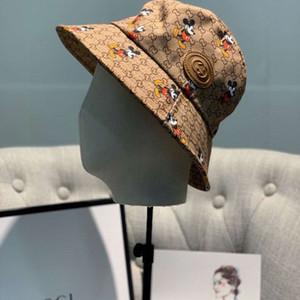 Высокое качество классического письма + мышь Bucket Hat мода Сложите способные Колпачки Черного Fisherman Бич ВС Visor Продажи Складной женщина Боулер Cap