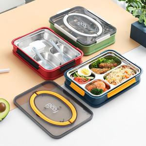 Portable Boîtes à Bento 3 étudiants Grids Boîte à lunch entièrement scellé aliments 4 Grids Boîte à lunch thermique en acier inoxydable 304 Boîtes à lunch CCA12166 32pcs