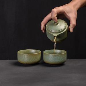 Japon Seramik Çaydanlık Gaiwan fincanları El yapımı Taşınabilir Seyahat Ofisi Çay Seti Drinkware Teaware Seti 1 Çaydanlık 2 çay fincanı