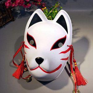 Японские маски анфас ручной росписи Стиль ПВХ Cat маска Косплей Маскарад Фестиваль Бал Кабуки Kitsune Косплей Костюм