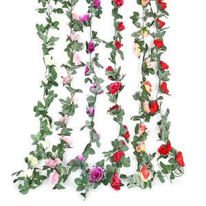 220cm Artificial Flower Vines Wedding Decor 16 Rose Fake Flowers Rattan String Garden Hanging Garland Silk Flower Plant Leaf