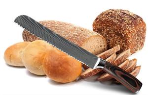 Cozinha faca de pão de 8 polegadas serrilhada Projeto Laser Damasco lâmina de aço inoxidável 8 polegadas Chef facas Pão Cheese Cake cortador Ferramenta