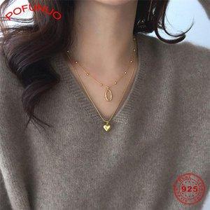 Colar de Ouro POFUNUO 925 pingente de colar de coração de prata de alta qualidade cobra corrente para mulheres elegantes Fine Jewelry Charme