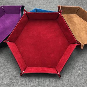 New Arrivals Hexagon Dice Plegable Rolling Tray Caja de almacenamiento PU Leather Dice Tray Para juegos de mesa Juegos de mesa