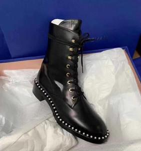 La Perle en cuir de luxe Femmes Martin Bottes Marque sauvages Bottes moto conception design de mode chaussures à talons bas