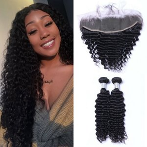 Peruvian Human Hair Deep Wave Bundles with Frontal 2 Bundles Virgin Hair Weave with Lace Frontal Closure Natural Color