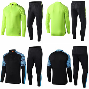 19 20 Survetement le football joggings manchester costume mis entraînement de football de ville noir vert Survêtement design à manches longues kits 2048