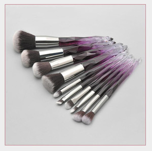 Handle Tool Crystal Glass Brush Set 10 Cosmetic Transparent Brush Foundation New Makeup Eye Makeup Diamond Vulte