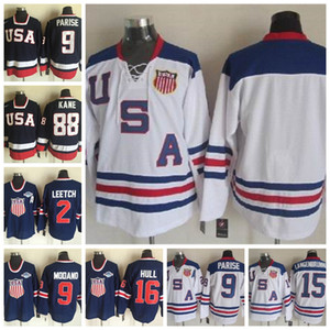 Fashion Retro USA Team Jersey 88 Patrick Kane 9 Zach Parise 16 Brett Hull 2 Brian Leetch Thomas Langenbrunner Mens Stitched Hockey Jerseys