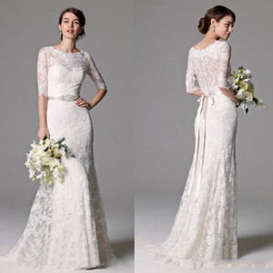 2020 Sexy Lace Wedding Dresses with Beaded Ribbon Buttons Back Wedding Gowns Half Sleeves Cheap Dress