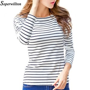 Soperwillton Cotton T-shirt Women 2019 New Autumn Long Sleeve O-Neck Striped Female T-Shirt White Casual Basic Classic Tops #620 Y200623
