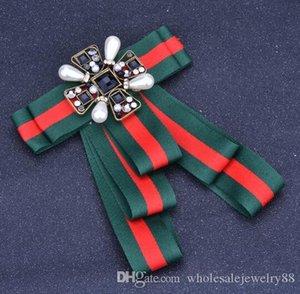 Retro Handmade Streifenbowknot-Broschen Geometry Kristallperlen BlumeCorsage adrette Art Krawatte Brosche-Stifte für Frauen-Shirt mit Zubehör