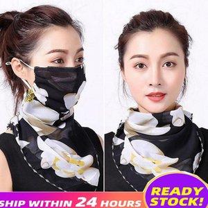 US Stock Chiffon Women Scarf Face Mask 22 Styles Silk Handkerchief Outdoor Windproof Half Face Dust-proof Sunshade Masks 85*50cm FY6129