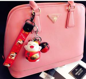 New Cartoon Lucky Cat Keychain Women Cat Car Key Ring Charm Bag Pendant Key Chain Gift Accessories 3074