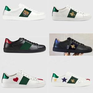 Deportes clásicos zapatos de los hombres de las mujeres de lujo del diseñador 100% plano de vaca auténtica calzados informales de la Pequeña abeja bordada amantes blanca tamaño de los zapatos 34-45