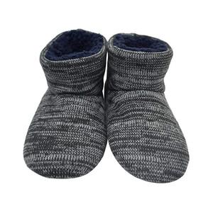 Knit roccia Lana uomini caldi Tirare coperta da Memory Foam Cozy Slipper stivali con suola in gomma morbida pelliccia pantofole calde pantofole