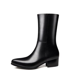 Autumn Winter Warm Mens Genuine Leather Boots Brand Pointed Toe High Heel Zipper Boots Fashion Classic Black Male Dress Boots