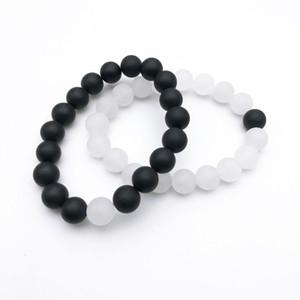 10mm Mat Beyaz Jade Mat Siyah Oniks Boncuk Bileklik, Taş Elastik Bilezikler Hediye İçin Erkekler Kadınlar