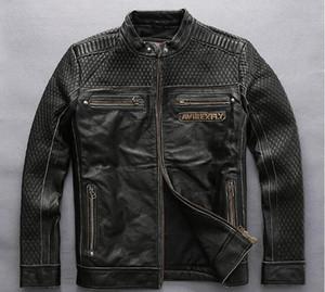 Хорошая обратная связь старинные черный AVIREXFLY 100% натуральная кожа куртка череп орел крылья мотоцикл кожаные куртки