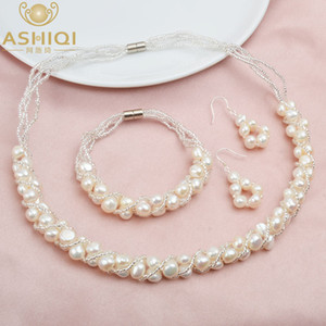 ASHIQI Natural Freshwater Pearl Jewelry Sets & More Hand-knitted Necklace Bracelet 925 Silver Earrings for Women NE+BR+EA CX200623