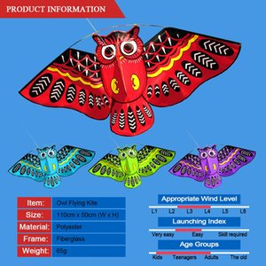 43 x 20 Inch Colorful Cartoon Owl Flying Kite with Kite Line Outdoor Toy for Children Gift Outdoor Tool Hand Grippers