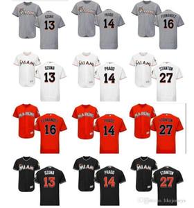 Donna Uomo personalizzato Miami Marlins bambini Jersey 14 Martin Prado 13 Marcell Ozuna 16 Jose Fernandez 27 Giancarlo Stanton baseball Jersey come