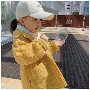 Brasão Estilo Moda de Nova 2019 Autumn Hot Selling crianças Marca Brasão Meninas Luxo Exteriores Crianças cor sólida Topcoat estilo britânico Médio Longo