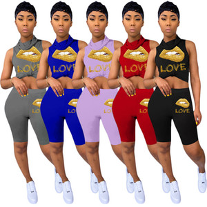 With S-3XL Lip LOVE Sets Tank Summer Tops+Shorts Sweat Suit Women Mask 3206 Size Outfits 2pcs Clothing Stretchy Sportswear Outfits Plus Aloe