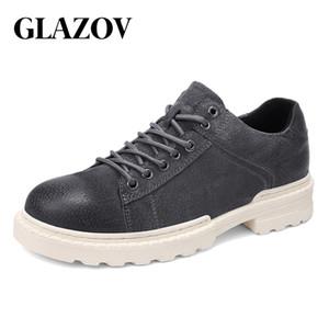 Glazov männer vintage britischen stil oxford arbeitsschuhe klassische freizeit dicke sohlen schuhe rutschfeste mode schnüren stiefeletten männlich