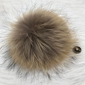 "15cm 6""-Real Natural Brown Raccoon Fur Pompom Ball W Button On Hat Bag Charm Key Chain Keyring DIY Accessories"