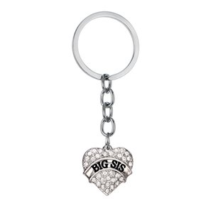 12 PC Wholesale Keyring Big Sis Sister Love Heart Clear Crystal Family Women Girl Keychain Key Chain Best Friend Rhinestone Gift