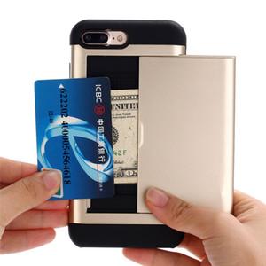 Slide Case À Carte de Crédit Cas de Téléphone TPU + PC Double Protection Portefeuille Couverture de Téléphone Pour iPhone 6 6s 7 8plus iPhone xr xs max