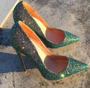 Freeshipping foto real luxura cuero genuino Degradado de color bronceado Punta dama niña zapatos de tacón alto tamaño de bomba 33-44 12cm 10cm 8cm