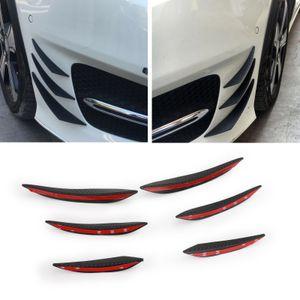 Areyourshop Car 6pcs Universal Gloss GBlack Carbon Car Auto Front Bumper Fins Spoiler Canards Refit Car Accessories Parts