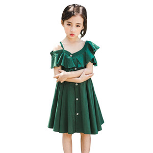 Baby Girls Dress Summer Strapless strap Kids Dresses For Girls V-Neck Fashion Sundress Beach Princess party Dress