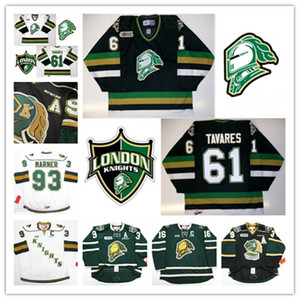 Coutume CHL Knights de London Mitch Marner Jersey 88 Patrick Kane 61 Tavares Rick Nash Cousu Noir Vert Blanc Hockey Maillots
