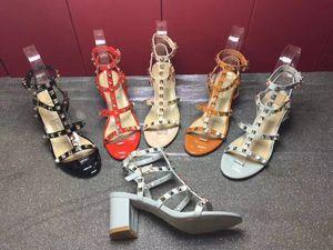 Luxury Designer Fashion Stud Sandals Genuine Leather Slingback Pumps Ladies Sexy High Heels Fashion Rivets Shoe High Heel 6.5 9.5 Xshfbcl