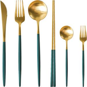 Camping Dinnerware Set Travel Cutlery Steak Knife Fork Set Reusable Coffee Spoon Metal Fork Portable Dinnerware Set