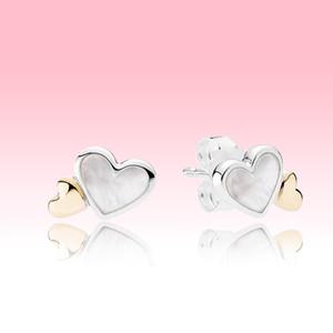 Double coeur double coeur en or jaune Boucle d'oreille Femmes filles Summer bijoux pour Pandora 925 Silver Love Hearts Boucles d'oreilles avec boîte d'origine