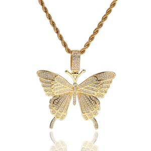 Iced Out Butterfly Pendant Bling Cubic Zircon Luxury Necklace Fashion Gold Silver Color Hip Hop Jewelry With 24 Inches Chain