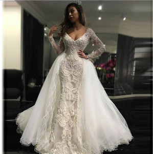 2020 New Arrival Plus Size Mermaid Wedding Dresses Off-shoulder Full Appliqued Lace Bridal Gowns Backles Sweep Train Custom Made