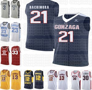 NCAA Gonzaga Bulldogs 21 Rui Hachimura 33 Bryant jersey LeBron 23 james High school 23 Michael James 13 Harden Suture University jersey