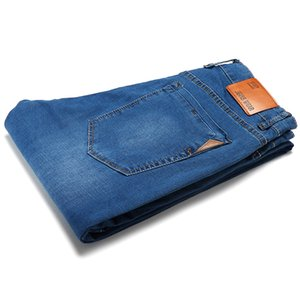 2019 Business Waistline Slim Jeans Fashion Casual Straight Cotton Elastic Big Size Brand Men Jean Men's Clothing Zipper Jeans